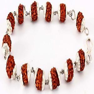 lucky charm Rudraksh silver capped bracelet