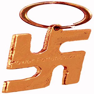 A Swastik locket made in brass on a white background