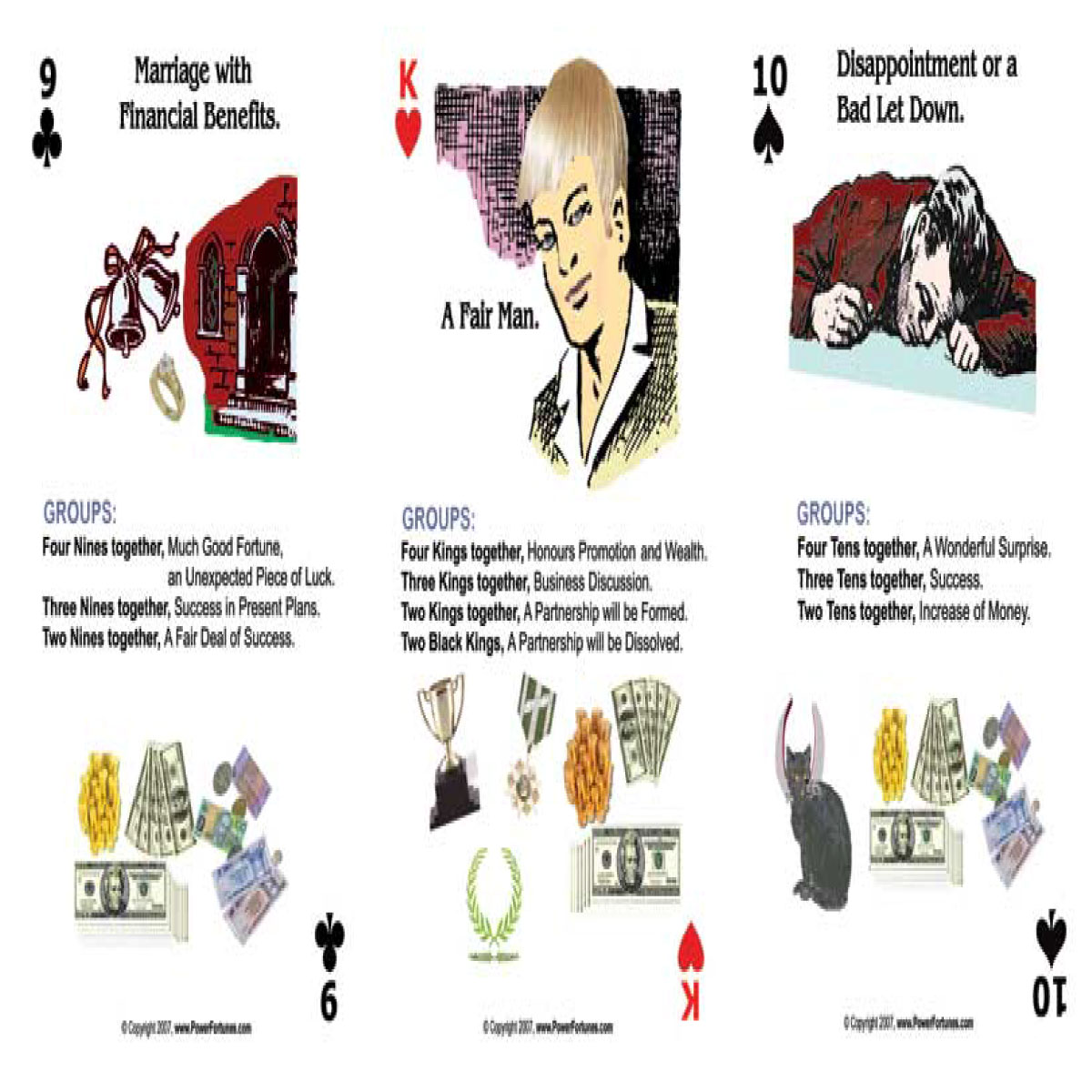 Fortune Telling Cards layout