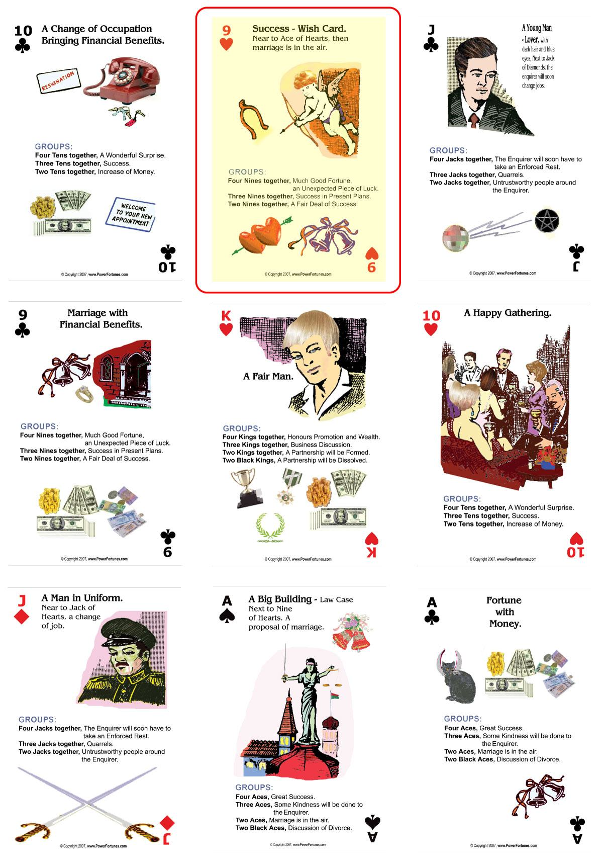 The Nine of Hearts of the Power Fortunes Deck