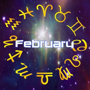 The word 'February' surrounded by stars, for next month's horoscope predictions for February, 2021