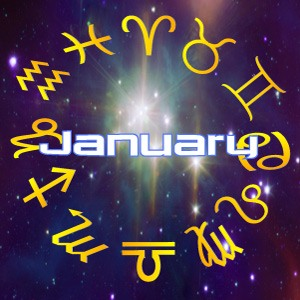 The word 'January' surrounded by stars, for next month's horoscope predictions for January, 2019