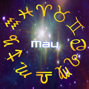 The word 'May' surrounded by stars, for this month's horoscope predictions for May, 2020