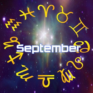 The word 'September' surrounded by stars, for this month's horoscope predictions for September, 2019