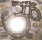 An Om symbol made in metal