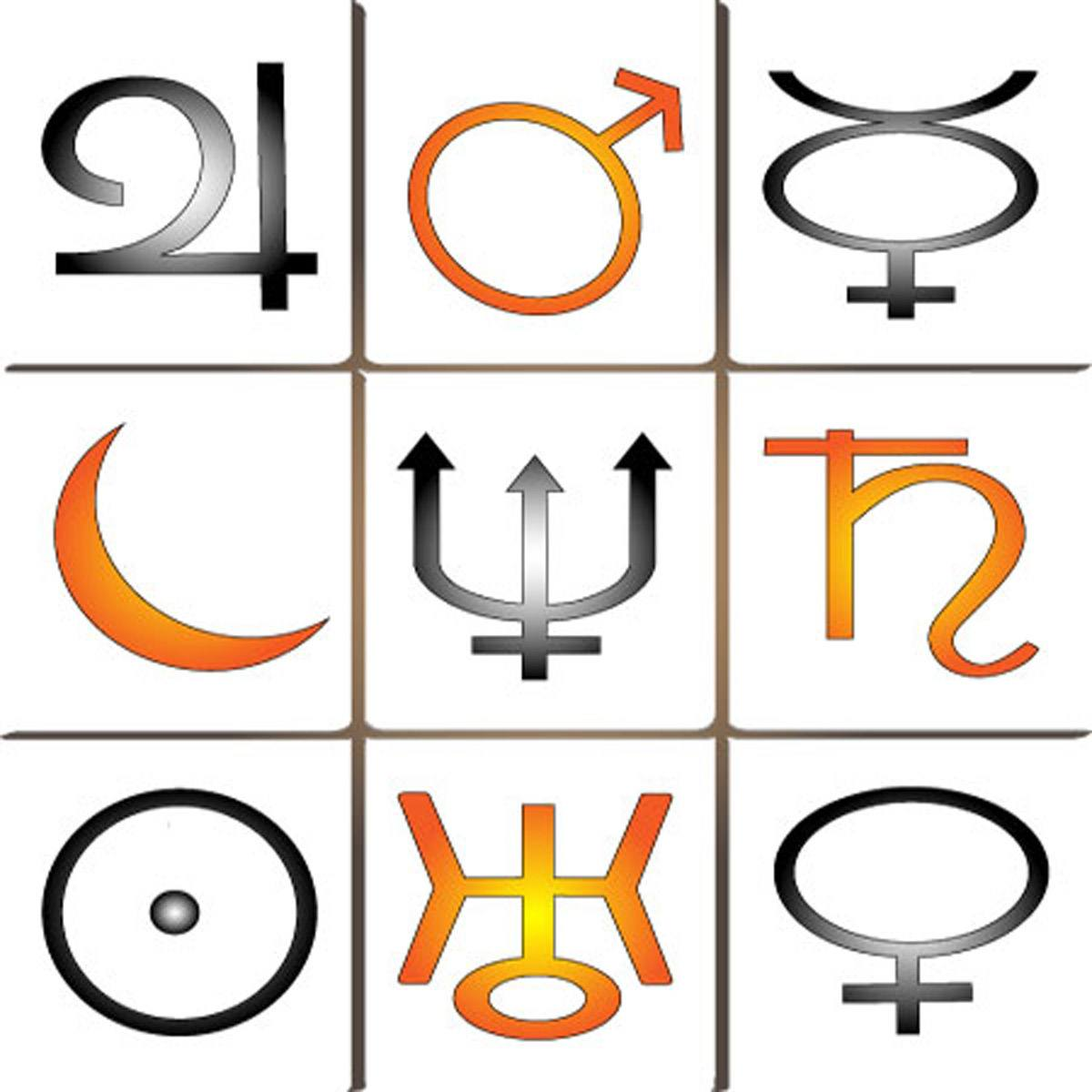 A grid of three rows and three columns of 9 planetary symbols.